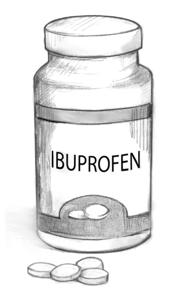 Drawing of a bottle of ibuprofen.