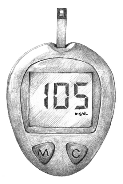 Drawing of a blood glucose meter with a test strip inserted. The screen shows a result of 105.