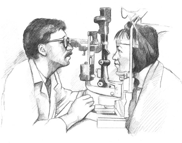 Drawing of a woman having her eyes examined by a male doctor using a machine.
