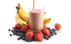 Smoothie with fruit.